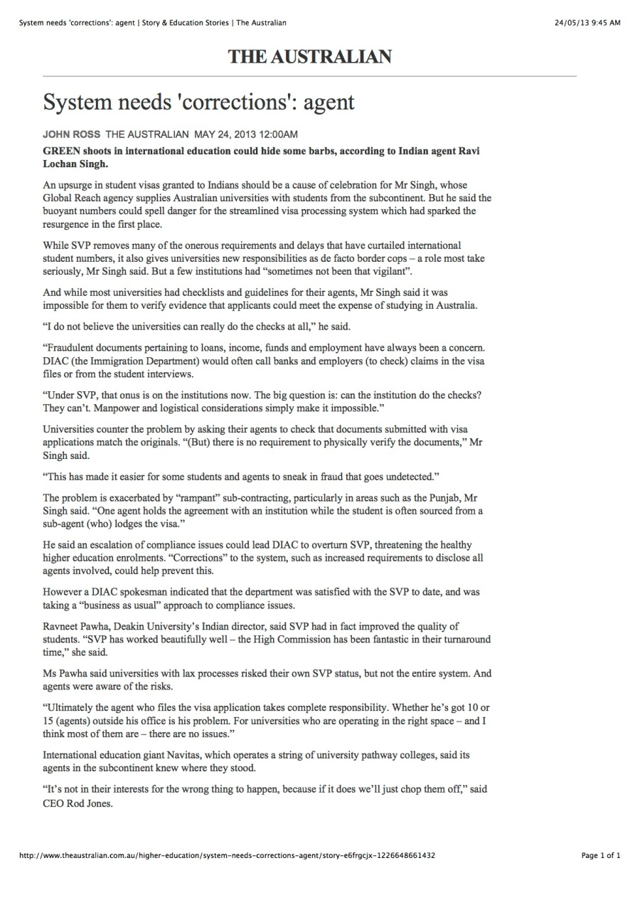 System needs 'corrections': agent | Story & Education Stories | The Australian 24052013 copy