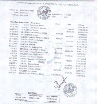 Sample of fake statement from a cooperative bank. This is used to show the source of a recent large deposit.